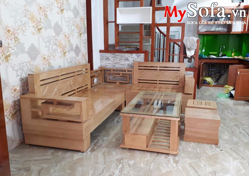 Hình ảnh bộ sofa gỗ cao cấp AmiA SFG011
