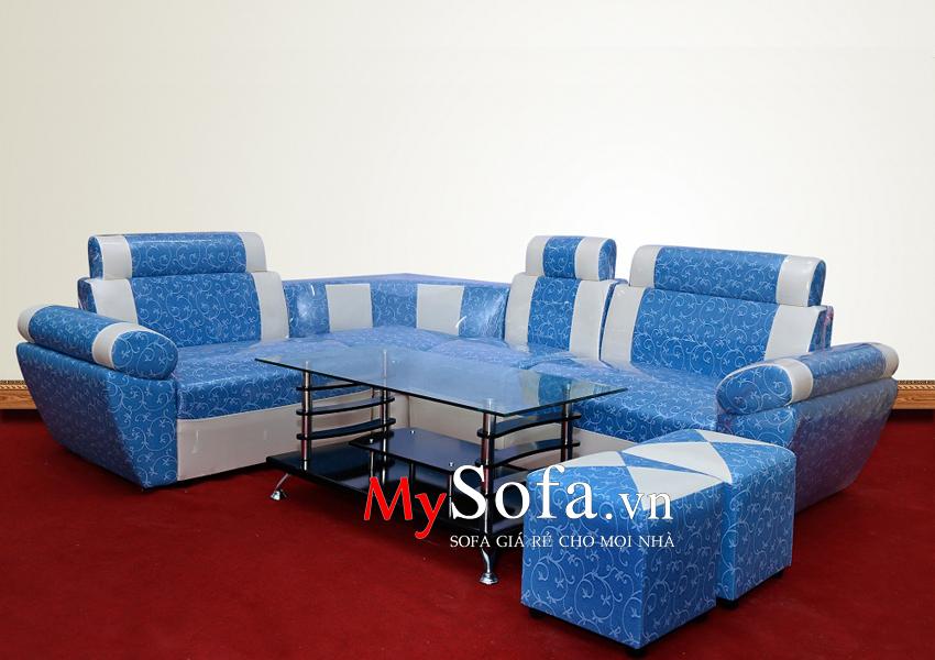 Mẫu Sofa da giá rẻ AmiA SFD025 màu xanh họa tiết