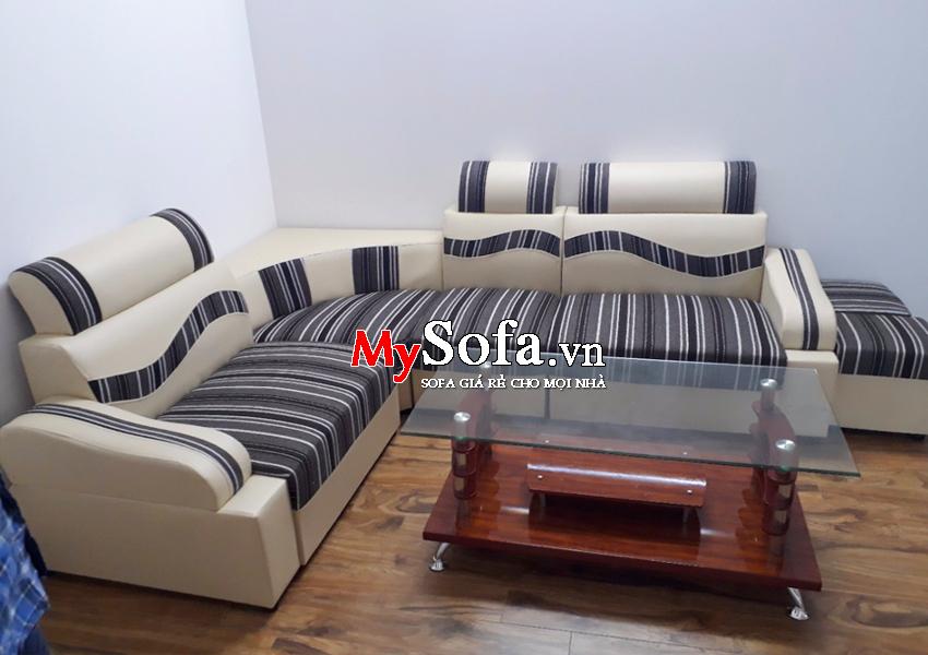 Hình ảnh Sofa da giá rẻ mặt nỉ AmiA SFD136